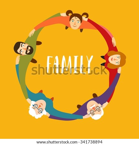 Traditional family including mother, father, child and grandparents  hugging each other standing in circle. Cartoon illustration about  unity and family relationships. - stock vector