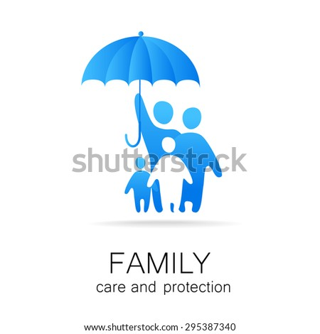Traditional family under umbrella, safety - stock vector