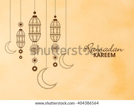 Traditional floral lanterns with crescent moons on beige background for Holy Month of Prayers, Ramadan Kareem celebration. - stock vector
