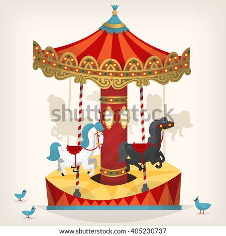 Traditional funfair amusement horse ride vector illustration.