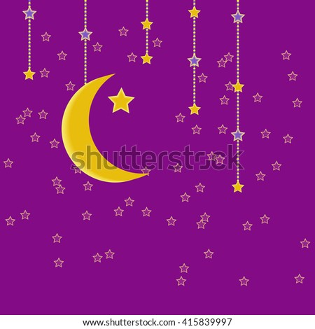 Traditional garland of Ramadan Kareem .Holy month of muslim community.Hand drawing hanging arabic star and moon . Vector background