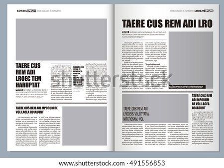 Traditional Graphical Design Template Newspaper Gray Stock Vector