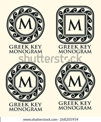 Traditional Greek Key Ornament Monogram Set, Vector Illustration - stock vector
