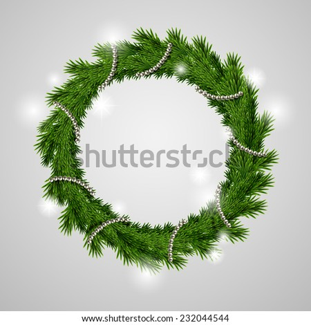traditional green Christmas wreath isolated on grey background - stock vector