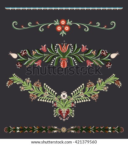 Traditional hand-drawn space dividers with floral elements - stock vector