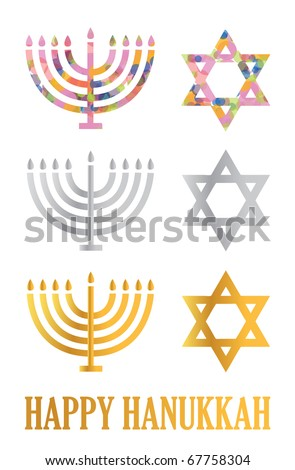 Traditional Hanukkah menorah and davids stars isolated over a white background - stock vector