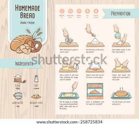 Traditional home made bread recipe with ingredients, icons set and hand drawn preparation - stock vector