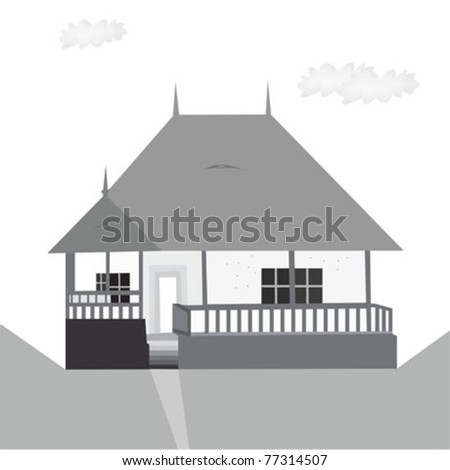 traditional house - stock vector