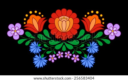 Traditional Hungarian folk embroidery pattern isolated on black - stock vector
