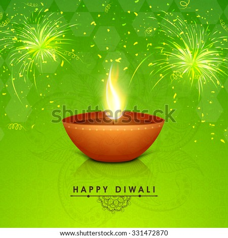 Traditional illuminated oil lit lamp on floral decorated shiny fireworks background for Indian Festival of Lights, Happy Diwali celebration. - stock vector