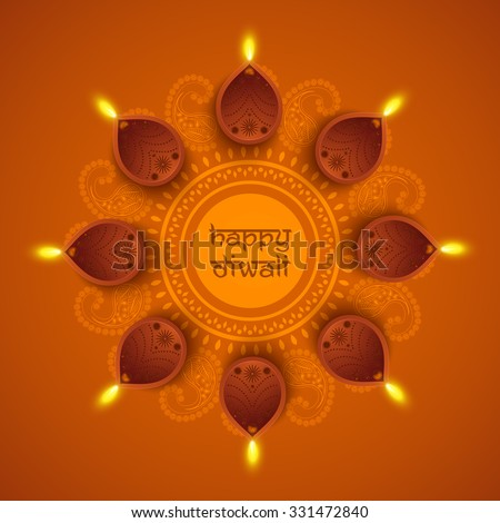 Traditional illuminated oil lit lamps on beautiful floral rangoli for Indian Festival of Lights, Happy Diwali celebration. - stock vector