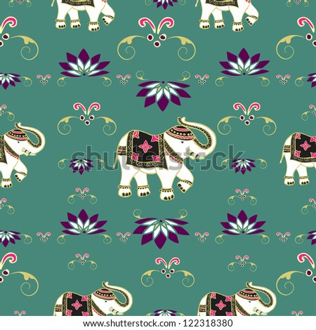 Traditional indian elephant decorated for special occasion pattern background . Vector illustration layered for easy manipulation and custom coloring. - stock vector