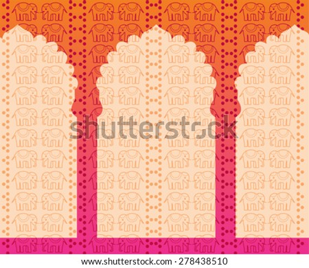 Traditional Indian henna pattern with elephants, pink background with oriental temple gates and space for text - stock vector