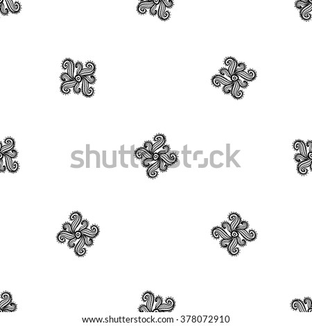 Traditional Indian symbols: paisley print. Hand drawn sketch paisley and mehendi graphic black line decoration items on white background. Seamless pattern on white backdrop - stock vector