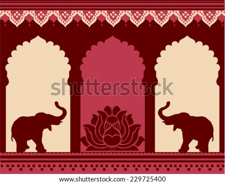 Traditional Indian temple design with lotus and elephants - stock vector