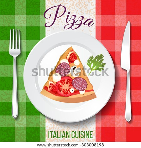Traditional Italian cuisine. Close up top front view. Pizza on the plate on table with flag tablecloth. - stock vector