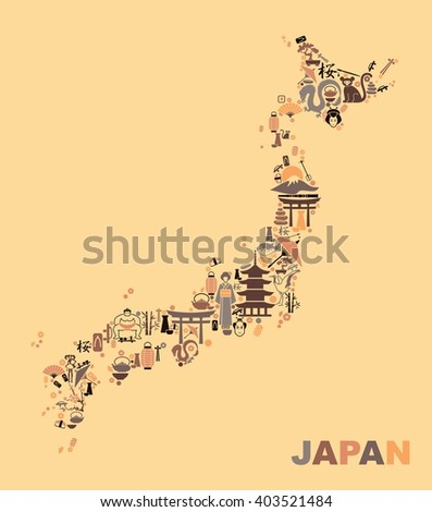 Traditional Japan symbols in the form of a map - stock vector
