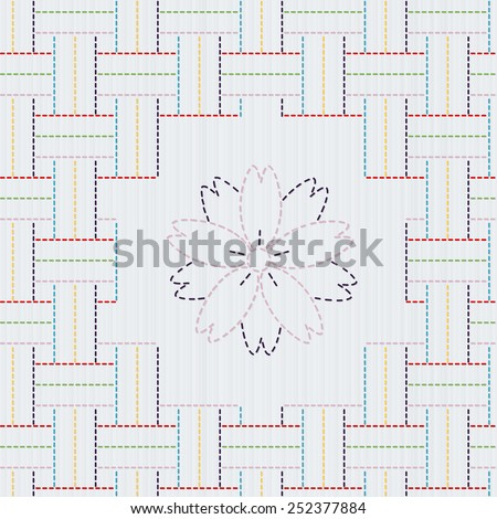 Traditional Japanese Embroidery Ornament with sakura flower. Colorful Sashiko motif - weaving. Abstract vector backdrop. Needlework texture. Can be used as seamless pattern. - stock vector