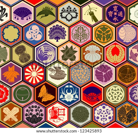Traditional Japanese family crests in a hexagonal grid layout
