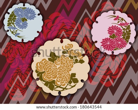 Traditional Japanese floral motifs in a modern interpretation - stock vector