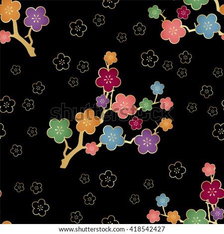 Traditional Japanese flowers pattern. Sakura seamless pattern background. vector illustration.