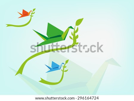 Traditional Japanese Memorial Peace Origami Cranes Flying with leaves. Editable Vector. - stock vector