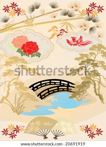 Traditional Japanese patterns/symbols - stock vector