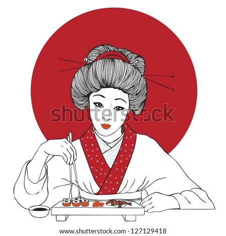 Traditional japanese pretty girl enjoy sushi. Vector illustration. Menu template - stock vector