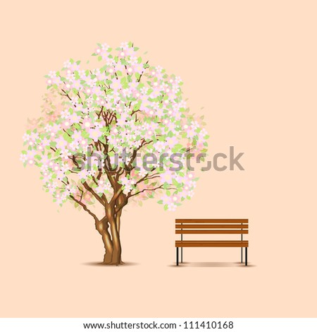 Traditional japanese tree and bench, vector illustration, eps10, 3 layers, easy editable