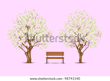 Traditional japanese trees and bench, vector illustration, eps10, 3 layers, easy editable