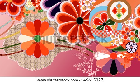 Traditional kimono design elements
