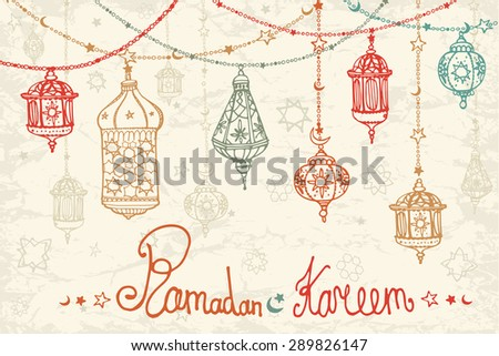Traditional lantern garland of Ramadan Kareem. Doodle greeting card. Holy month of muslim community. Hand drawing hanging arabic lamp, star and moon on blue background. Horizontal Vector