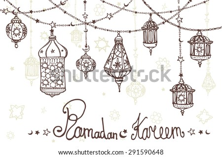 Traditional lantern garland of Ramadan Kareem .Doodle greeting card .Holy month of muslim community.Hand drawing hanging arabic lamp, star and moon .Horizontal Vector background