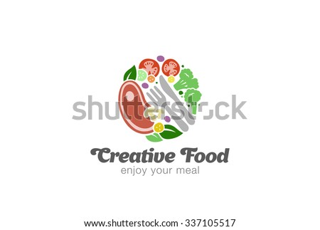 Traditional Meat And Vegetables On Plate Logo Design Vector Template Circle Shape Of Food Logotype
