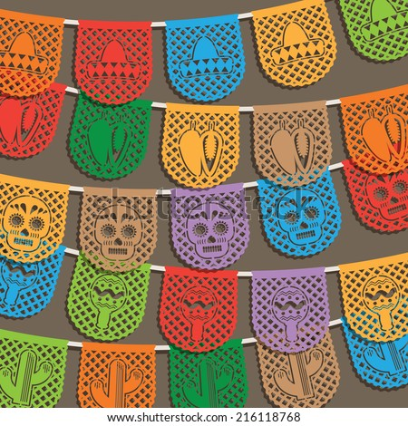 traditional mexican paper bunting decoration, with clipping path and transparencies - stock vector
