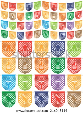 traditional mexican paper bunting (papel picado) decorations, sombrero, tequila, maraca and lizard, isolated on white - stock vector