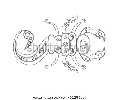 Traditional Mexican Scorpio, tribal vector illustration