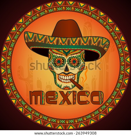 Traditional mexican skull with sombrero. Vector skull in mexican hat with cigar. Mexican ornament - stock vector