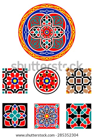 Traditional Middle Eastern Colorful Vector Islamic Art Ornaments - stock vector
