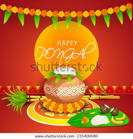 Traditional mud pot with rice, sugarcane and religious offerings on banana leaf for worship on occasion of South Indian harvesting festival, Happy Pongal celebrations.  - stock vector