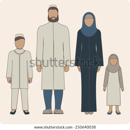 Traditional muslim family with two children boy and girl - stock vector