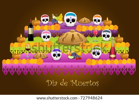 traditional offering represented the day of the dead in Mexican customs