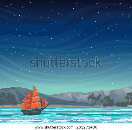 Traditional old sailboat with red sails and tropical island on a starry night sky. - stock vector