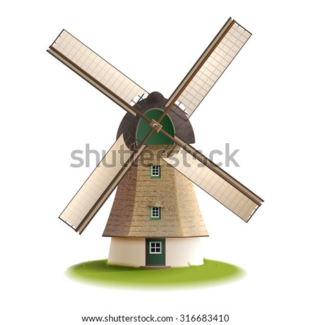 Traditional old windmill building single object color painted concept isolated vector illustration    - stock vector