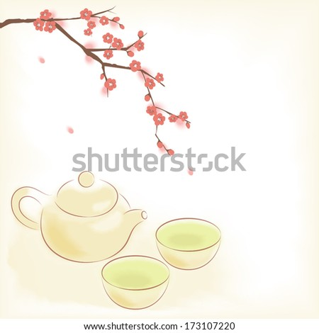 Traditional oriental teapot and cups with blooming plum tree - stock vector