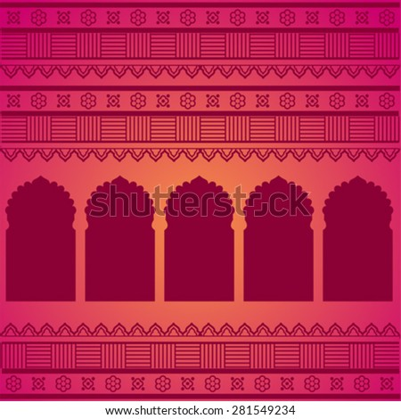 Traditional oriental temple gates pattern on pink background with Indian henna borders - stock vector