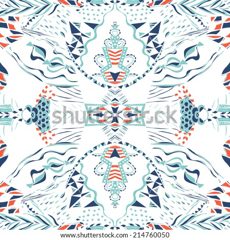 Traditional ornamental paisley bandanna. Hand drawn elegant aztec pattern with artistic pattern. Used for wallpaper, pattern fills, surface textures. - stock vector