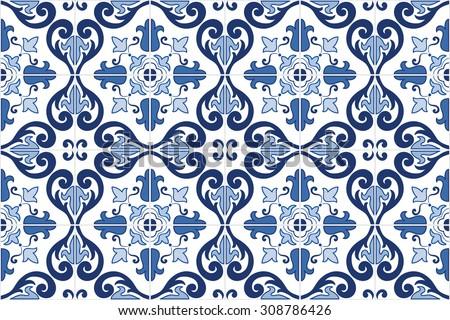 Traditional ornate portuguese decorative tiles azulejos stock vector 308786426 shutterstock - Azulejos vintage ...