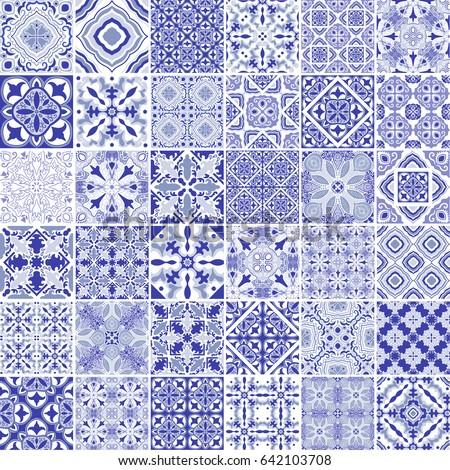 Traditional Ornate Portuguese Decorative Tiles Azulejos Stock