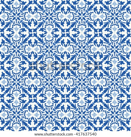 Traditional ornate portuguese tiles azulejos. Vintage seamless pattern. Abstract background. Vector illustration